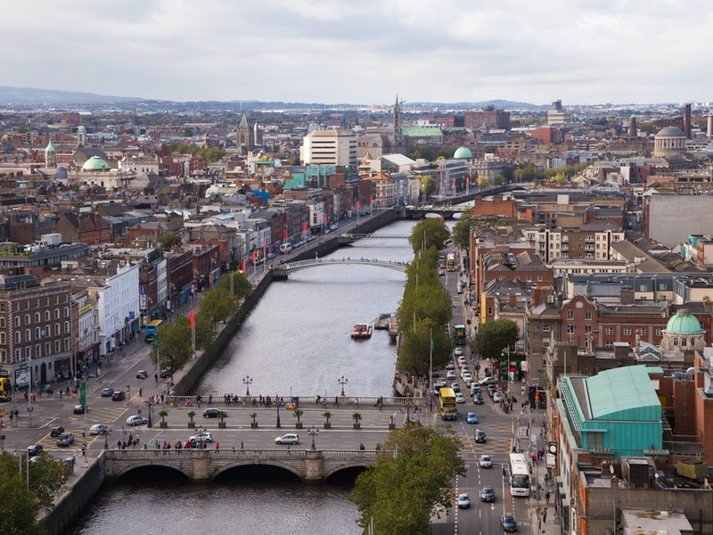 Dublin city view over the Liffey.