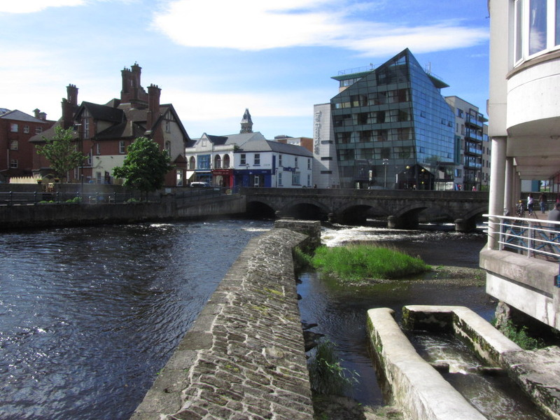 View of Sligo town and Glasshouse from the river.