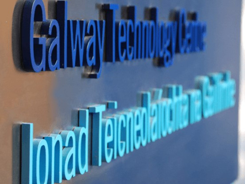 Wall panel saying Galway Technology Clinic.