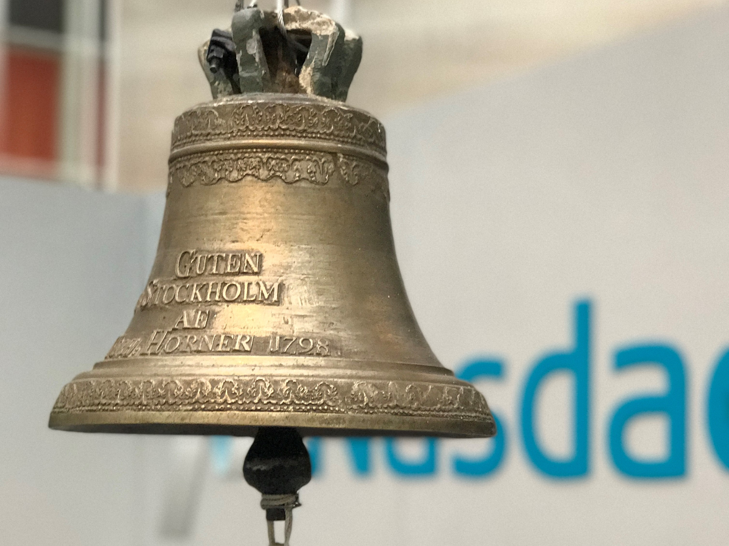 Picture of the Nasdaq First North Bell in Stockholm, Sweden.