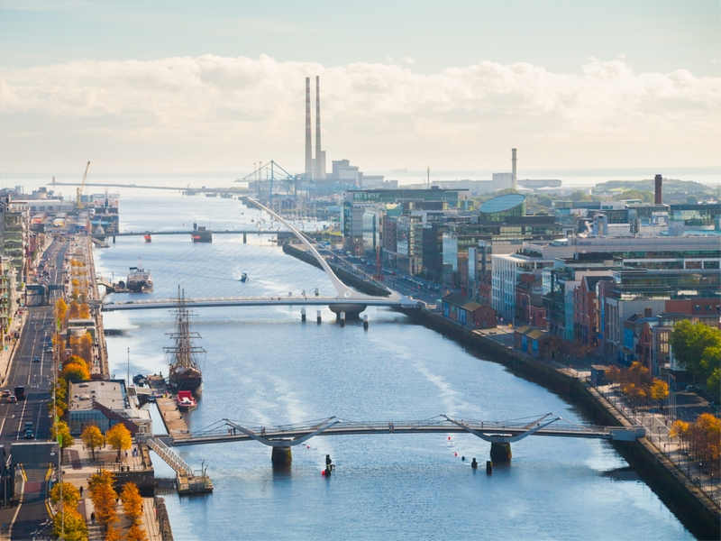 Panoramic view of Dublin docklands.