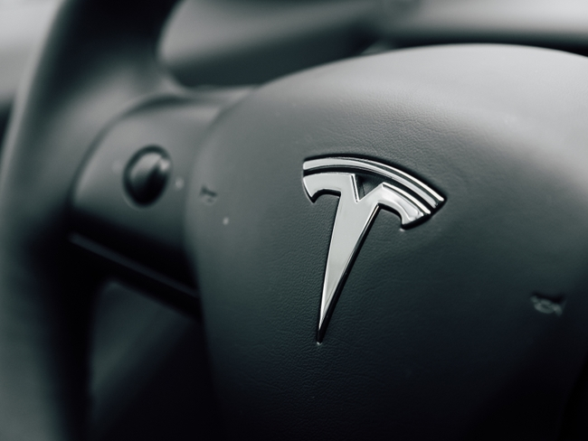 Steering wheel on a Model 3 Tesla.