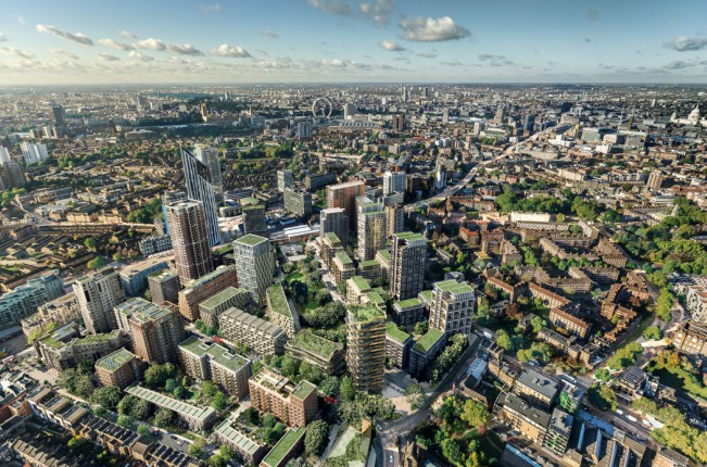 Aerial view of a large building development in London.