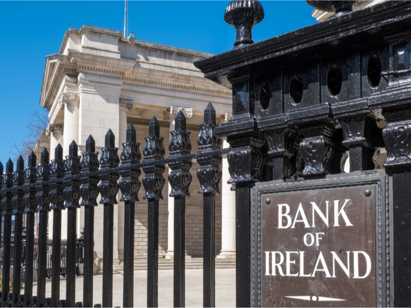 Bank of Ireland sign outside House of Lords, Dublin.