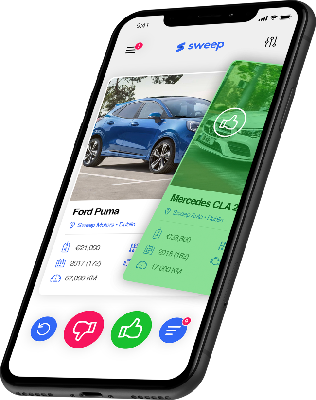 close up of the new car buying app from Sweep.