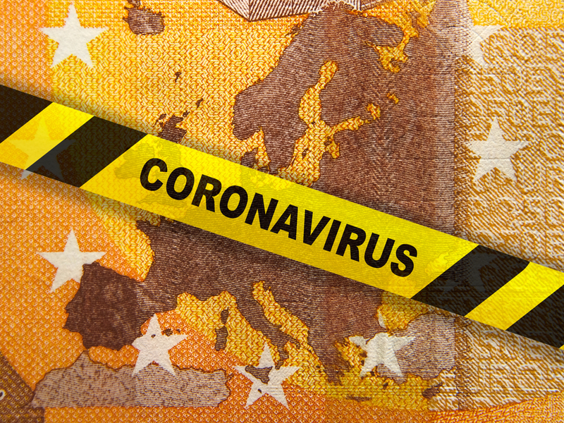 Image of a fifty euro note with a warning banner saying Coronavirus across it.