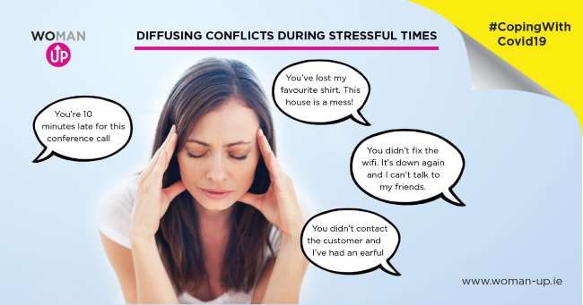 Infographic showing conflict and stress during Covid-19.