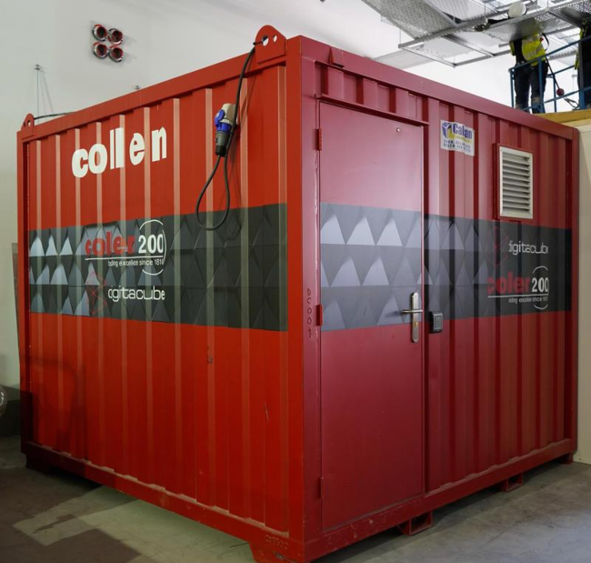 Red shipping container.
