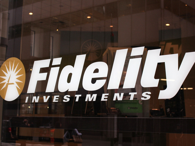 Fidelity Investments window sign.