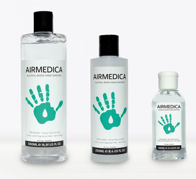 Different sizes of Airmedica bottles.