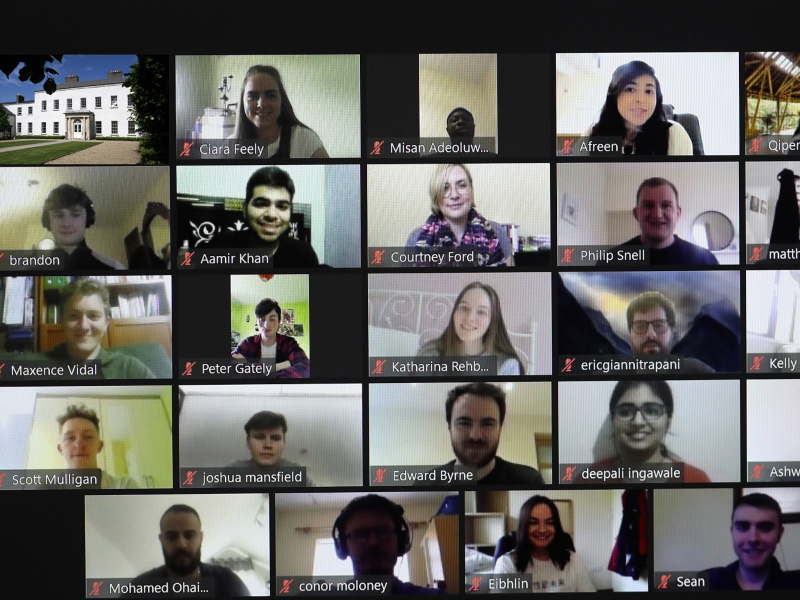student entrepreneurs during a zoom call.