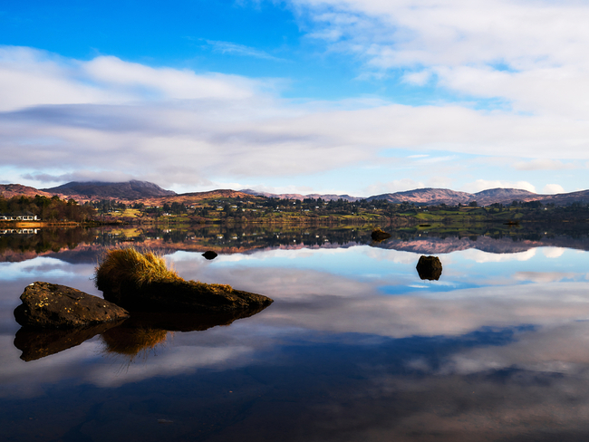 Serene lake view in Donegal.
