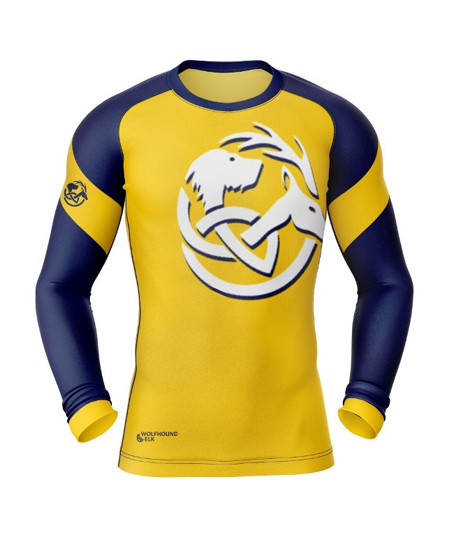 Blue and yellow football jersey.