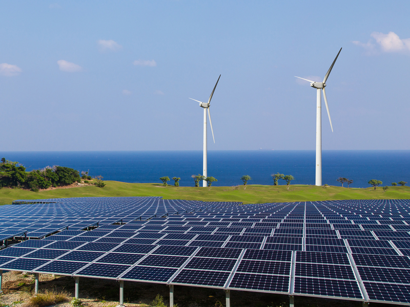 sources of renewable energy including wind and solar.