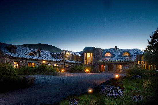 Beautiful holiday resort buildings at night.
