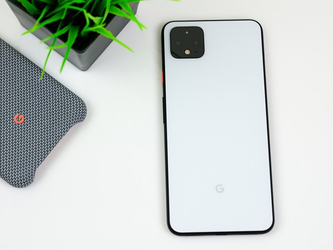Google Pixel 4 device in white and black.