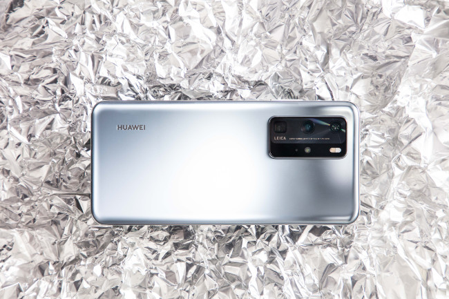 Huawei P40 smartphone in silver.