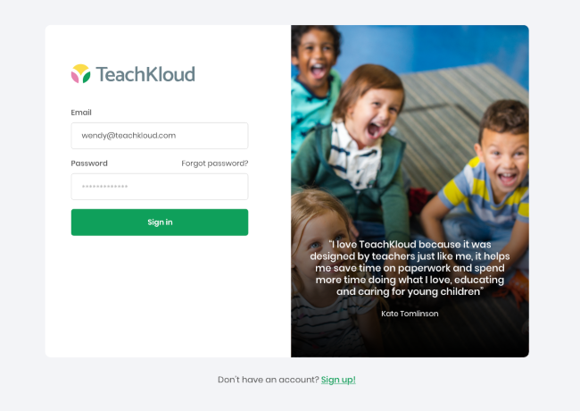screenshot of TeachKloud service.