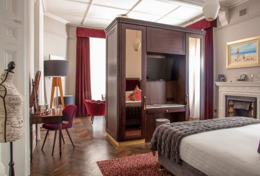 Inside a hotel bedroom