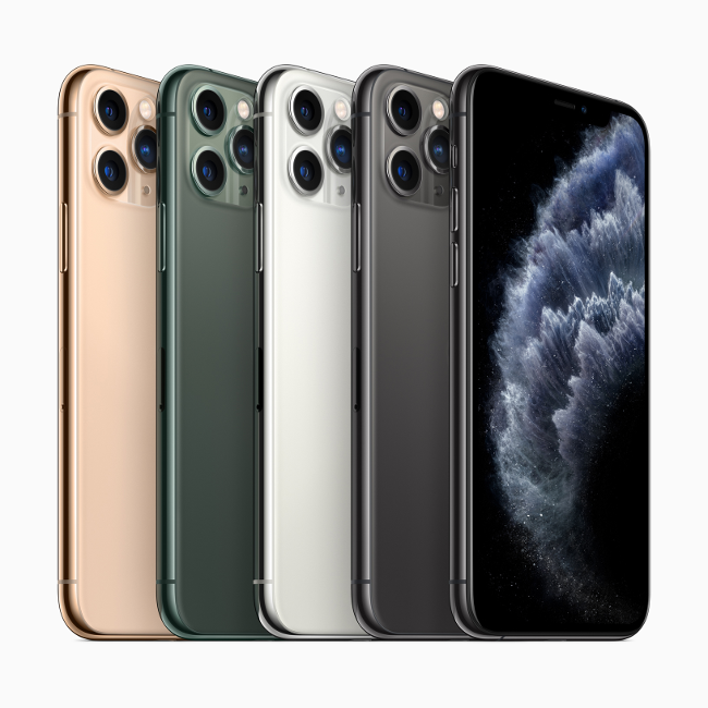 Apple iPhone 11 Pro smartphones in various colours.