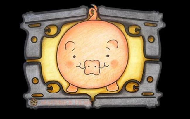 cartoon showing a pig.