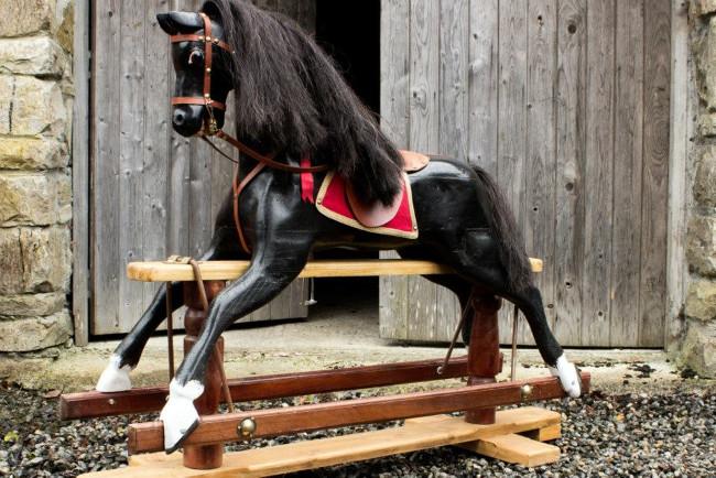 black rocking horse.