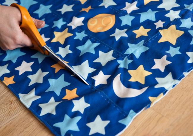 Star covered blanket.