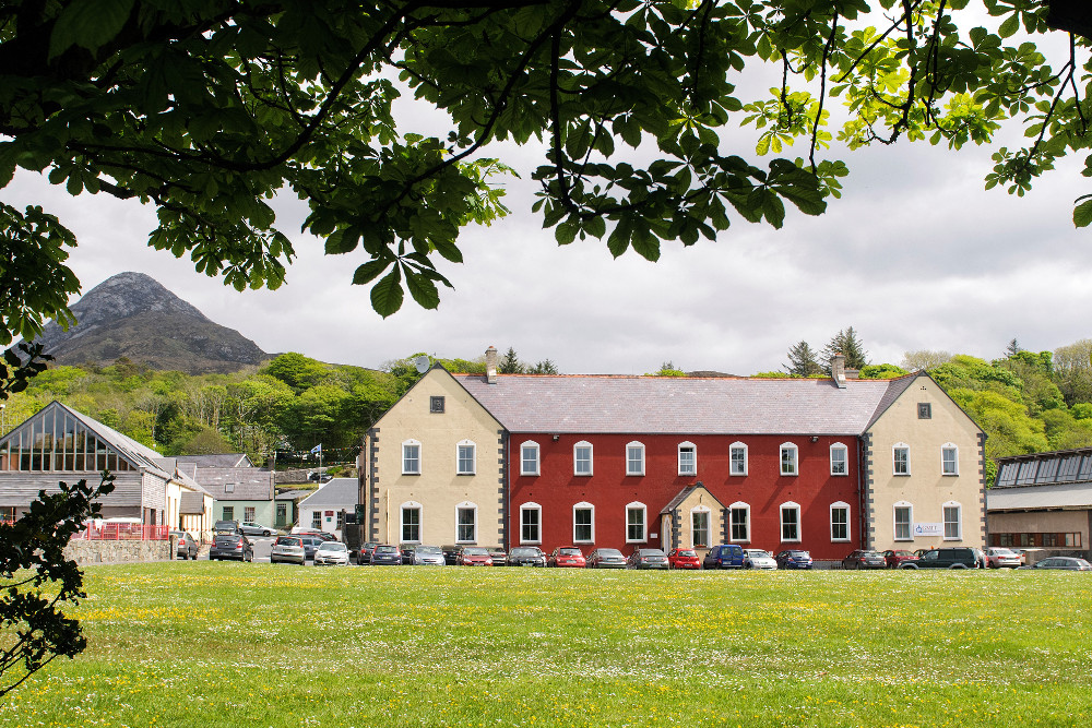 Red-coloured building that is HQ of Connemara West.