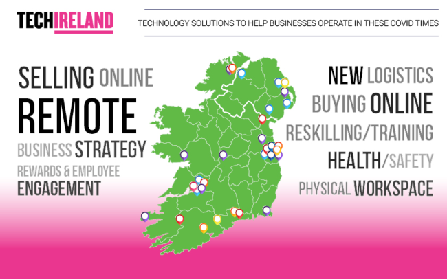Map of Ireland showing digital solutions for businesses.