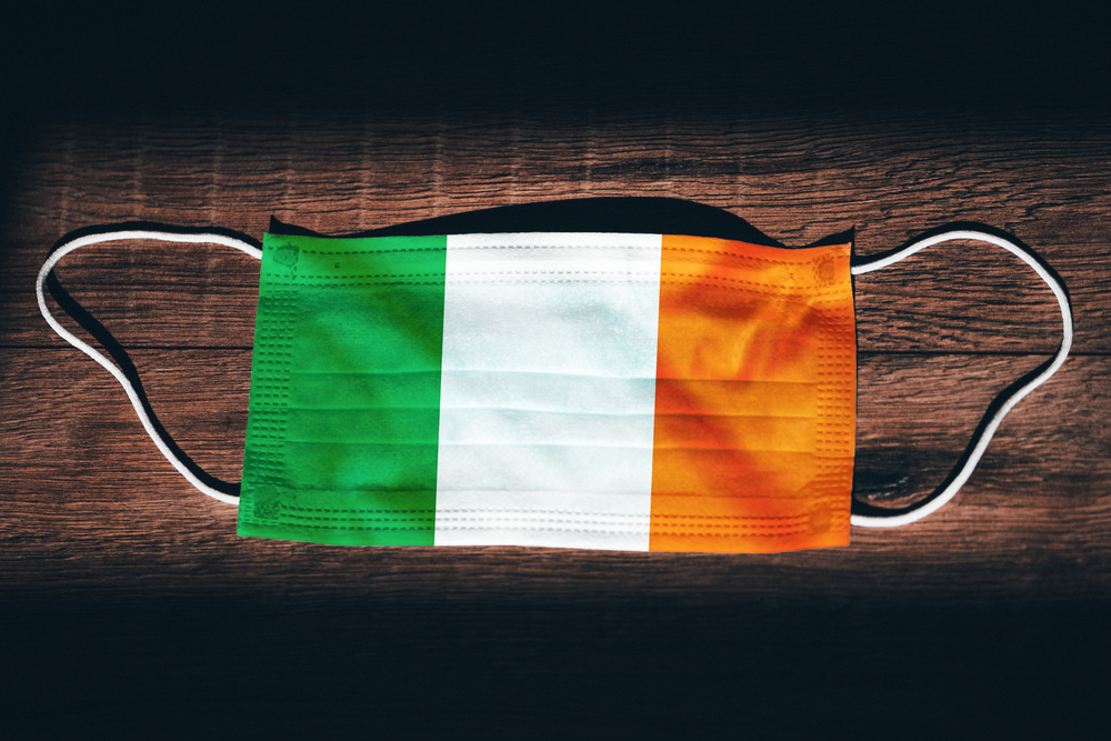 Face mask in colours of Irish flag.