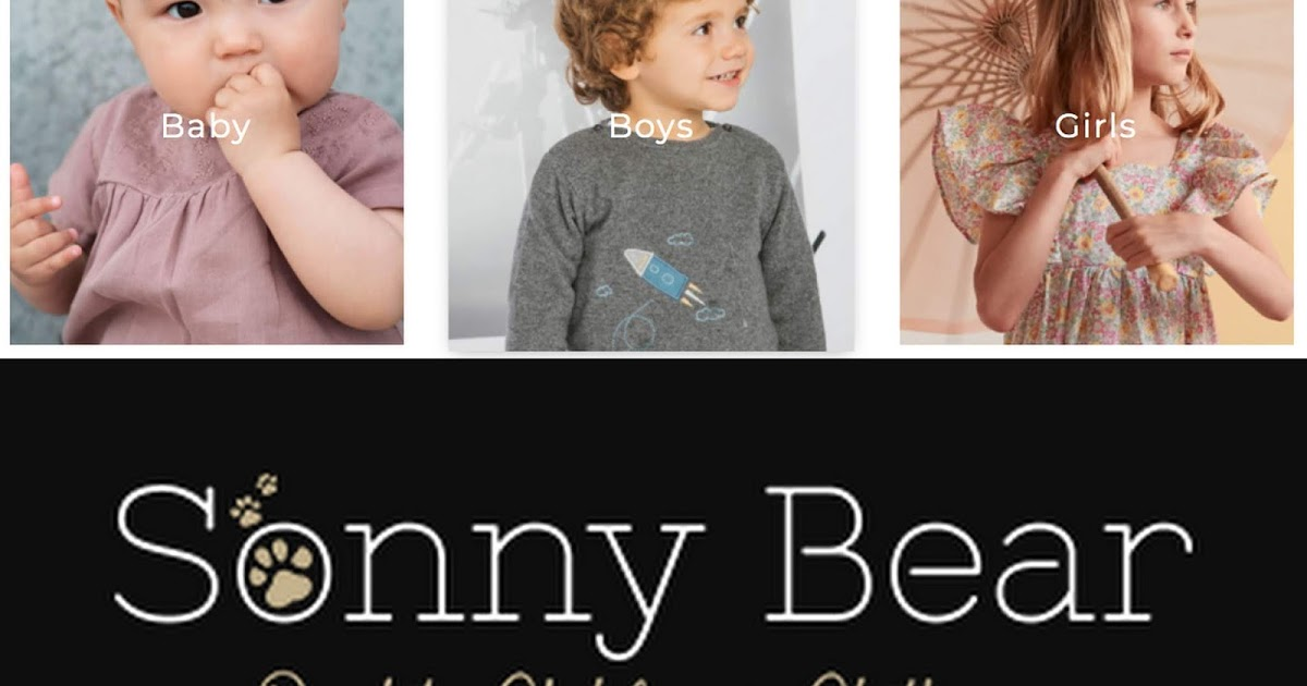 Pictures of kids with Sonny Bear logo.