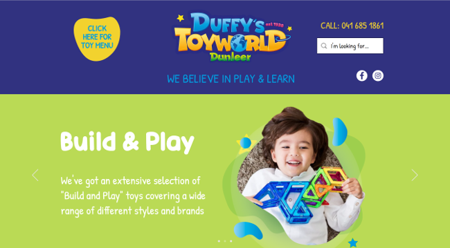 Website for Duffys toy world.