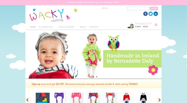 Wacky Clothing website