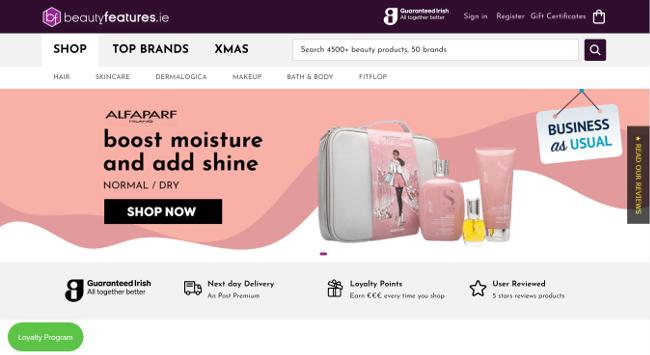 Beauty features website.