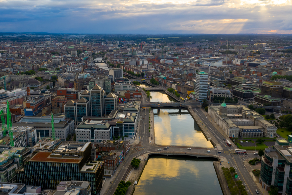 Panorama of centre of Dublin.