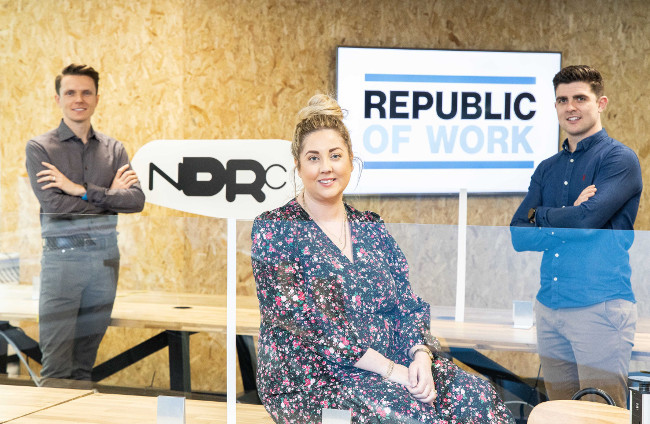 Two men and a woman at Republic of Work Cork.