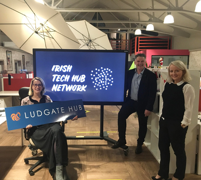 Man and two women with Irish Tech Hub Network on screen.