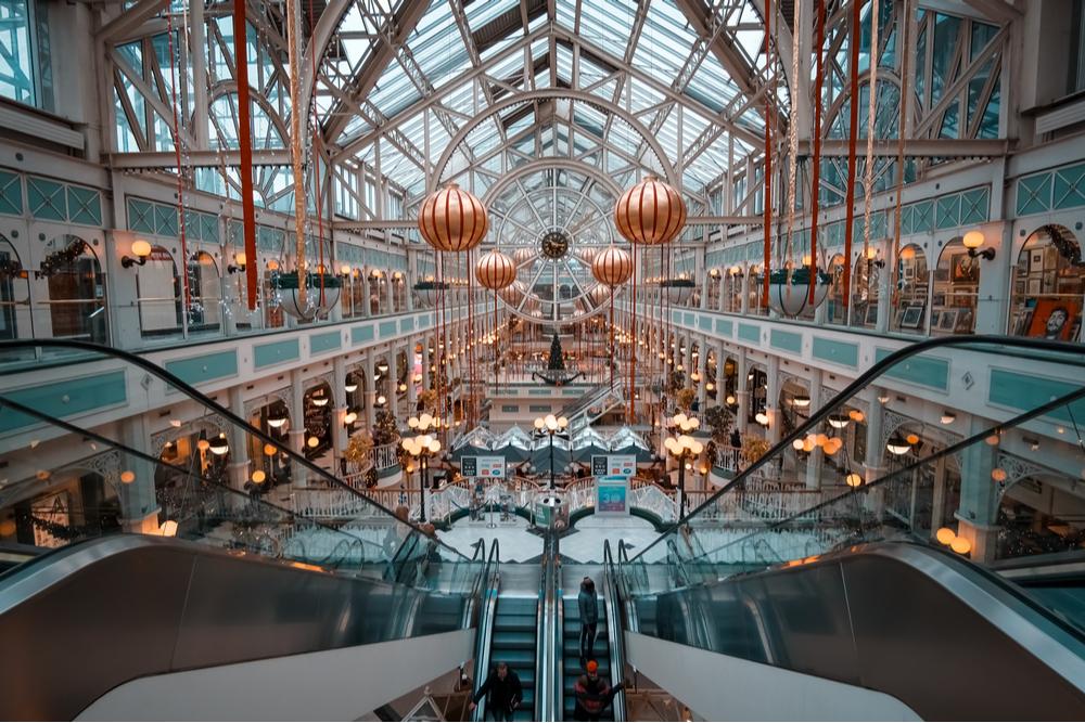 Inside view of St Stephen's Green shopping centre Dublin at Christmas.