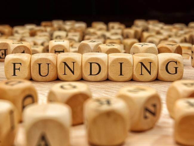 The word funding written on wooden blocks.