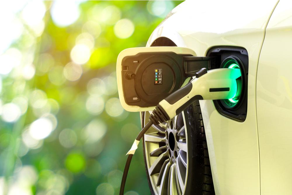 Plugged in electric car.