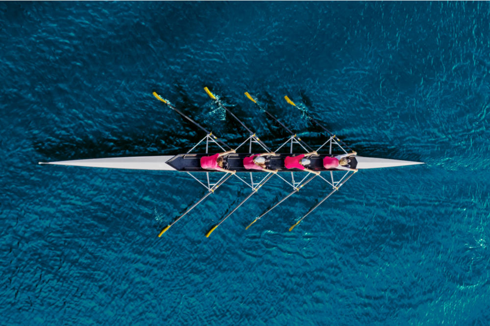 A team of women rowers.