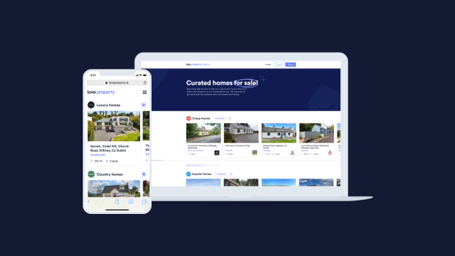 Desktop and mobile version of LoveProperty.ie.