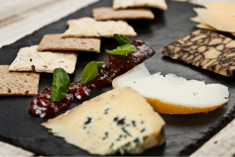 Irish cheeses on a cheeseplate.