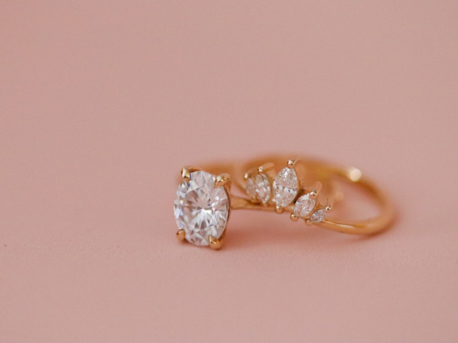 Diamond ring on a gold band.