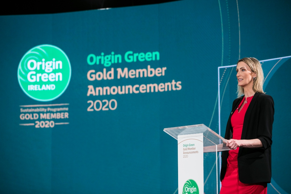 Woman in red dress speaking at an awards ceremony.