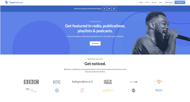 Landing page for TuneRelease.