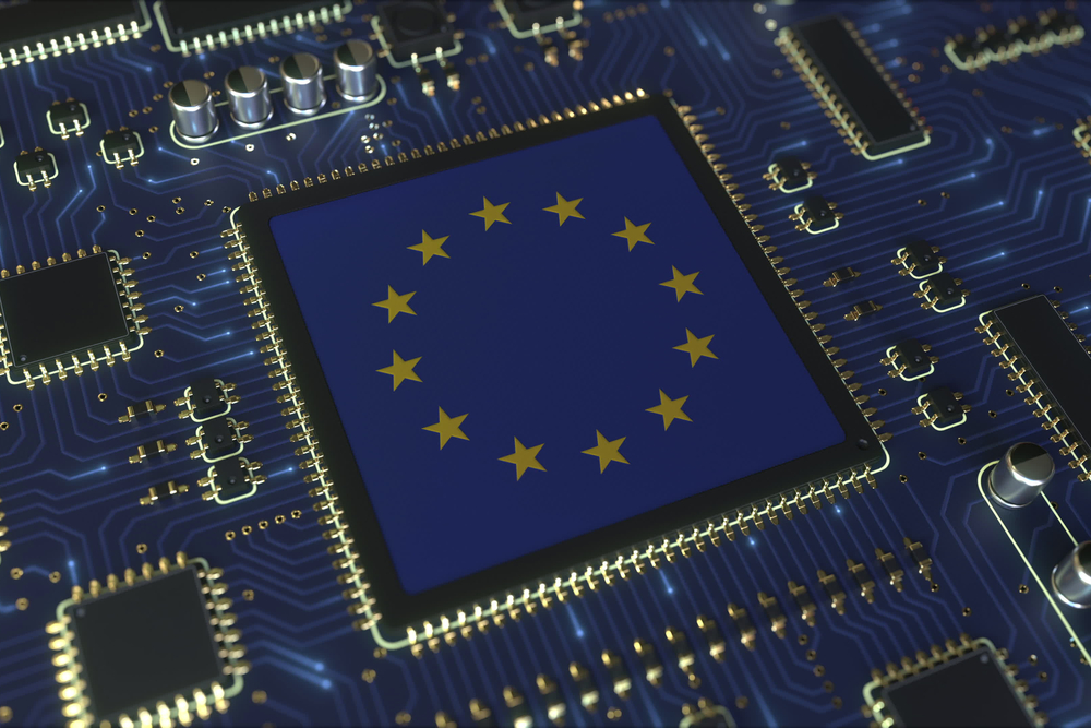 Microchip with EU flag on it.