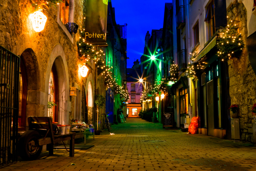 old Galway city street,Kerwan's Lane,decorated with christmas lights,night scene.