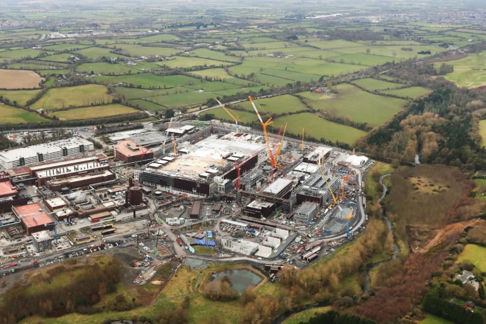 Aerial view of construction at Intel in Ireland.
