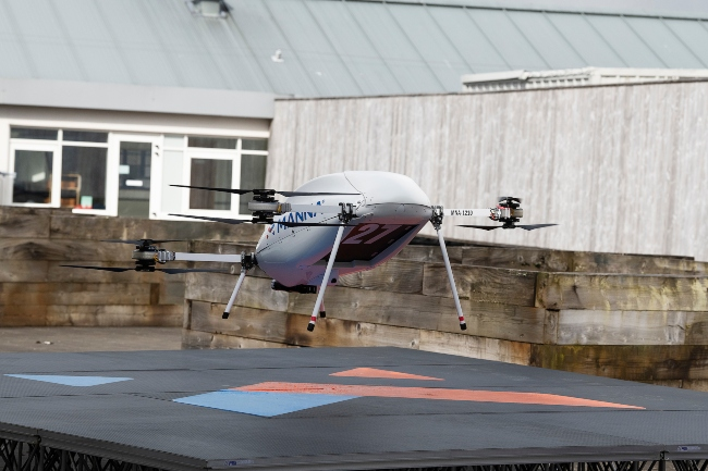 A large drone taking off.